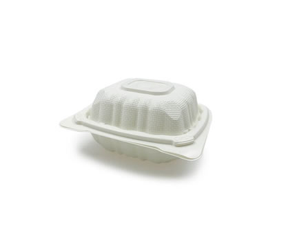 square hinged compostable container