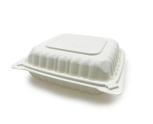 hinged compostable container